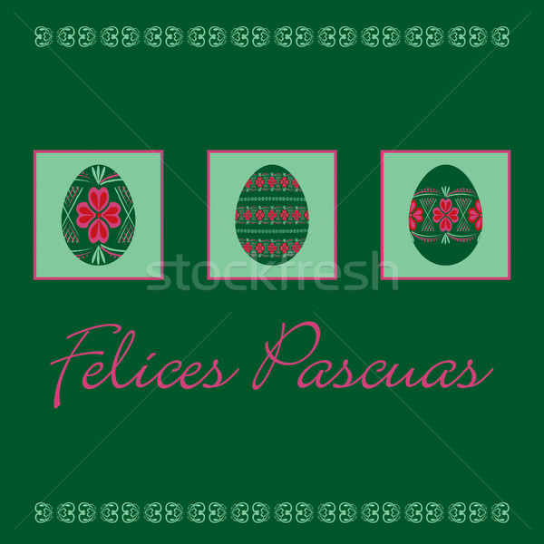 Spanish Happy Easter cards in vector format. Stock photo © piccola
