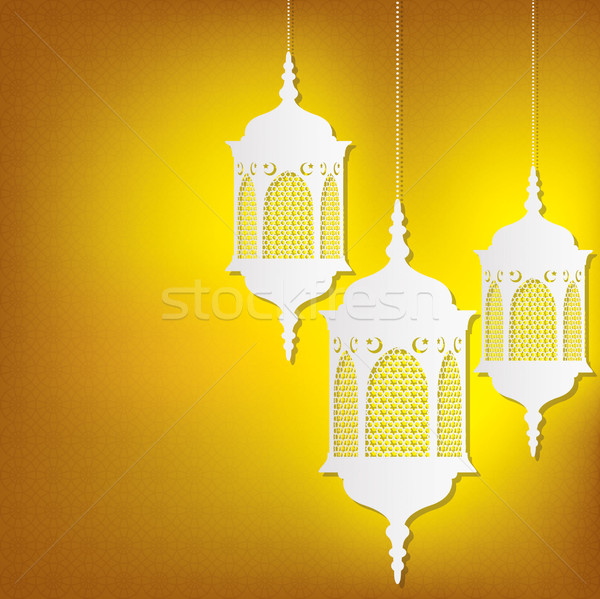 Hanging Moroccan lantern card in vector format. Stock photo © piccola