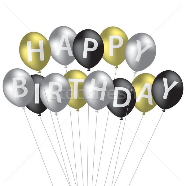 Srebrny złota czarny balon urodziny Zdjęcia stock © piccola