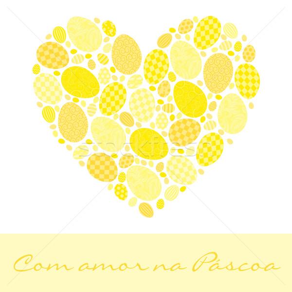 Szeretet húsvét kártya vektor formátum tojás Stock fotó © piccola