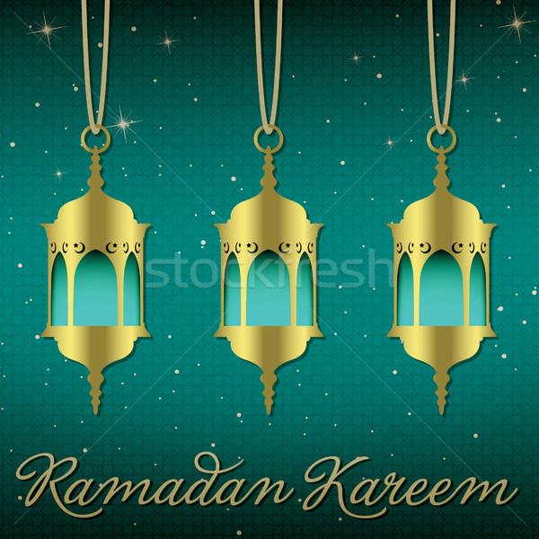 Stock fotó: Ramadán · nagyvonalú · lámpás · üdvözlőlap · vektor · formátum