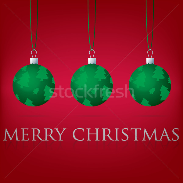 Bright red Merry Christmas bauble card in vector format. Stock photo © piccola
