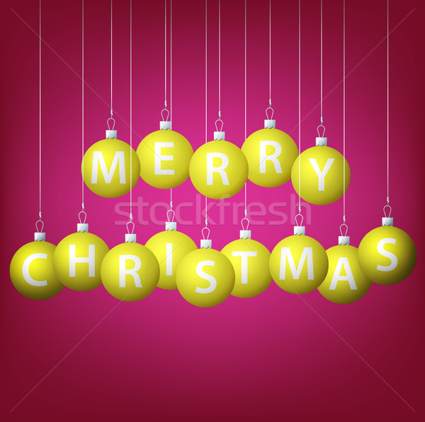 Merry Christmas hanging bauble card in vector format. Stock photo © piccola
