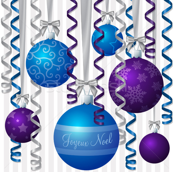 Ribbon and bauble inspired Christmas card in vector format Stock photo © piccola