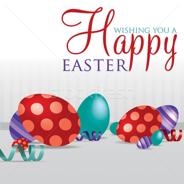 'Wishing you a Happy Easter' scattered egg cards in vector forma Stock photo © piccola