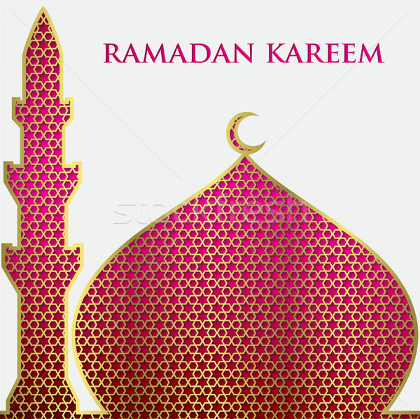 Textured Mosque Card In Vector Format. Stock photo © piccola