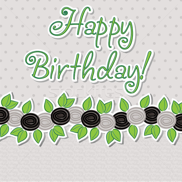 Happy Birthday rose banner card in vector format. Stock photo © piccola