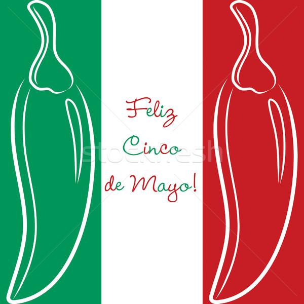 'Feliz Cinco de Mayo' (Happy 5th of May) hand drawn chili card i Stock photo © piccola
