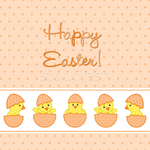 Baby Chicks Easter card in vector format. Stock photo © piccola
