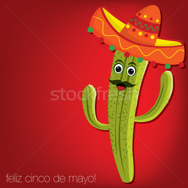 'Feliz Cinco de Mayo' (Happy 5th of May) cactus card in vector f Stock photo © piccola