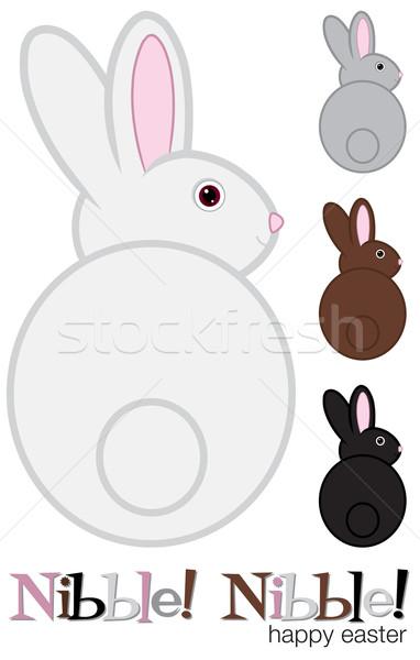 Stock fotó: Húsvéti · nyuszi · szett · vektor · formátum · textúra · arc