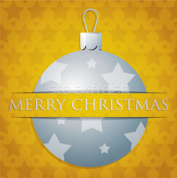 Silver star patterned bauble 'Merry Christmas' card in vector fo Stock photo © piccola