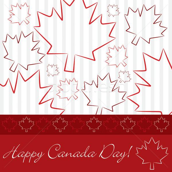 Dessinés à la main feuille d'érable Canada jour carte vecteur Photo stock © piccola