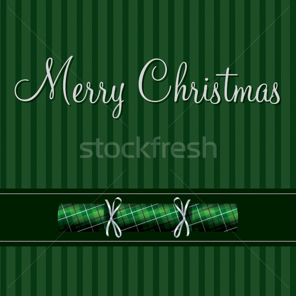 Merry Christmas cracker card in green plaid in vector format. Stock photo © piccola