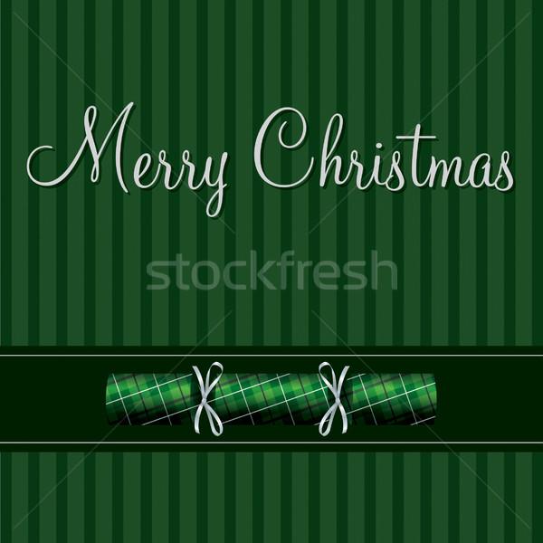 Vidám karácsony kártya zöld kockás vektor Stock fotó © piccola