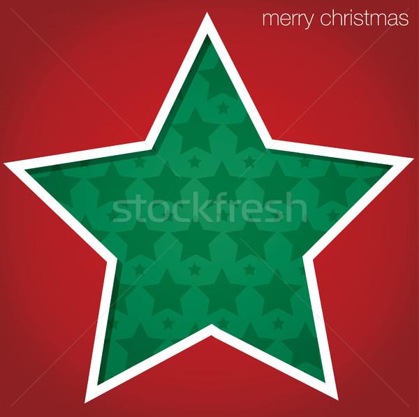 Csillag vidám karácsony kivágás kártya vektor Stock fotó © piccola