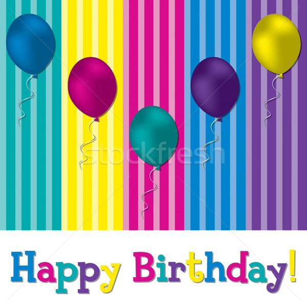 Boldog születésnapot léggömb kártya vektor formátum textúra Stock fotó © piccola