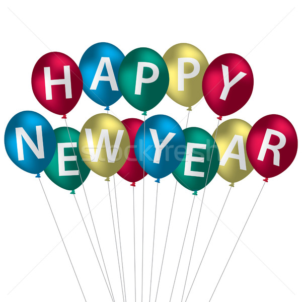 Multi-coloured Happy New Year balloon card in vector format. Stock photo © piccola