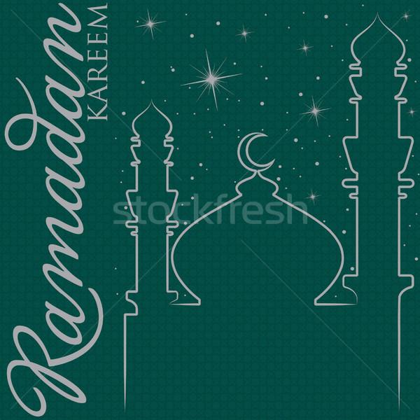 Hand drawn Ramadan Kareem (Generous Ramadan) greeting card in vector format. Stock photo © piccola