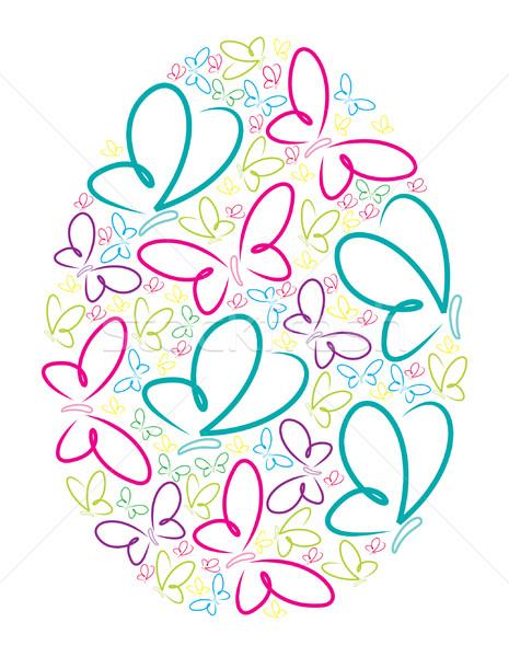 Stock fotó: Pillangó · húsvéti · tojás · vektor · formátum · húsvét · kéz