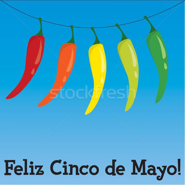 Cinco de Mayo chili pepper greeting card in vector format. Stock photo © piccola