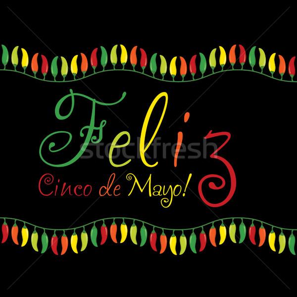 'Feliz Cinco de Mayo' (Happy 5th of May) chilli card in vector f Stock photo © piccola