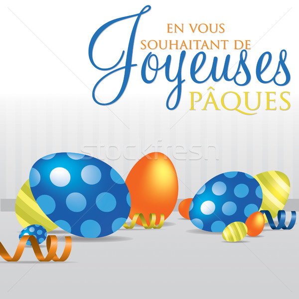 French 'Wishing you a Happy Easter' scattered egg card Stock photo © piccola