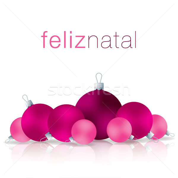 Portuguese Merry Christmas bauble card in vector format. Stock photo © piccola