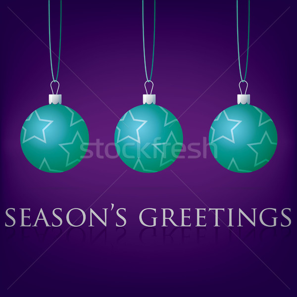 Bright purple Season's Greetings bauble card in vector format. Stock photo © piccola