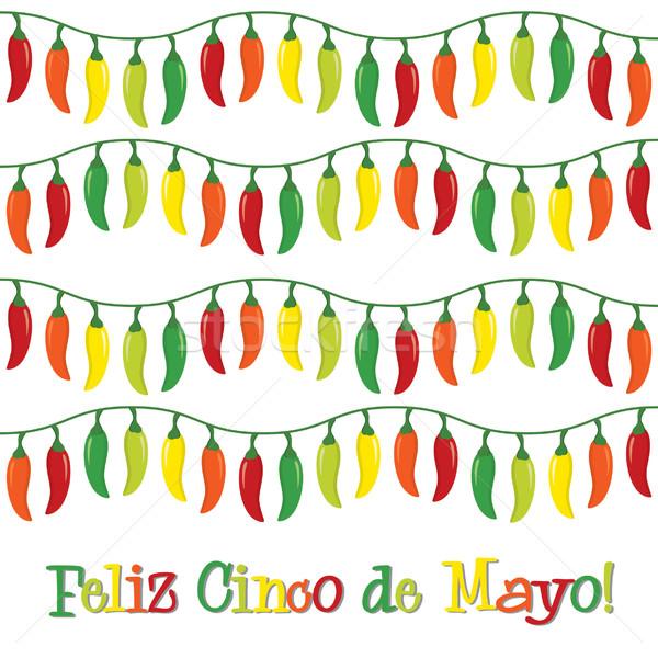 'Feliz Cinco de Mayo' (Happy 5th of May) chilli card  Stock photo © piccola