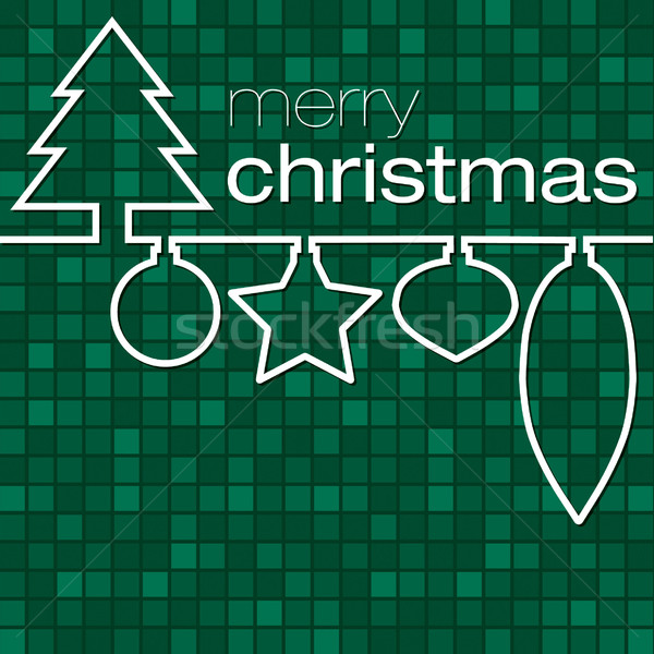 Green mosaic line Christmas card in vector format. Stock photo © piccola