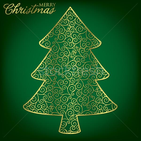 Elegant filigree Christmas card in vector format. Stock photo © piccola