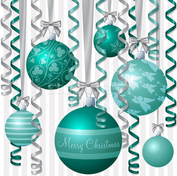 Ribbon and bauble inspired Christmas card in vector format. Stock photo © piccola
