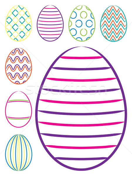 Parlak paskalya yumurtası vektör format Paskalya Stok fotoğraf © piccola