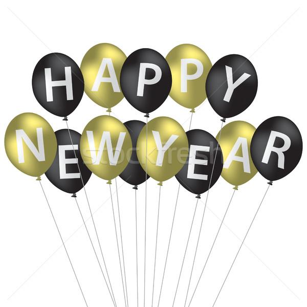Gelukkig nieuwjaar ballon kaart vector formaat papier Stockfoto © piccola