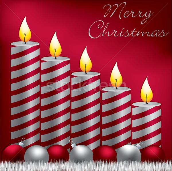 陽気な クリスマス キャンドル 安物の宝石 カード ベクトル ストックフォト © piccola