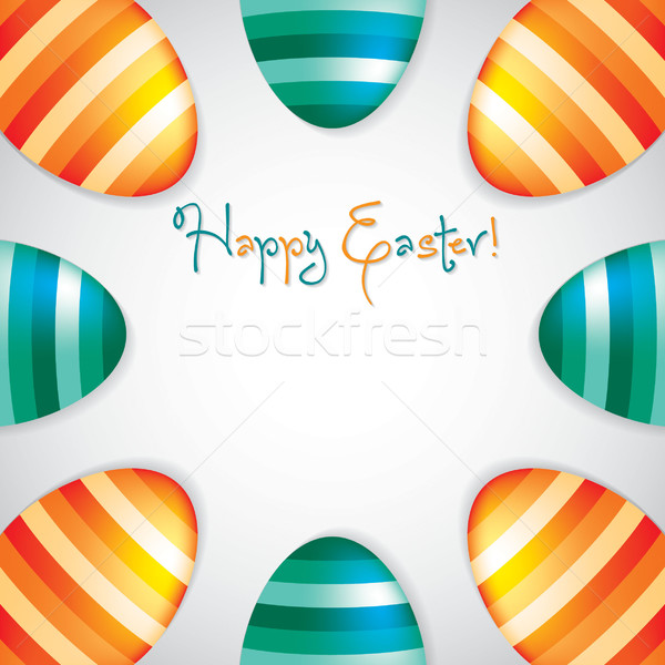 Circle of Easter eggs border in vector format. Stock photo © piccola