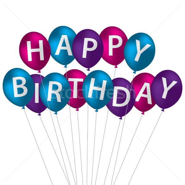 Multi coloured bright balloon bunch Happy Birthday card in vecto Stock photo © piccola
