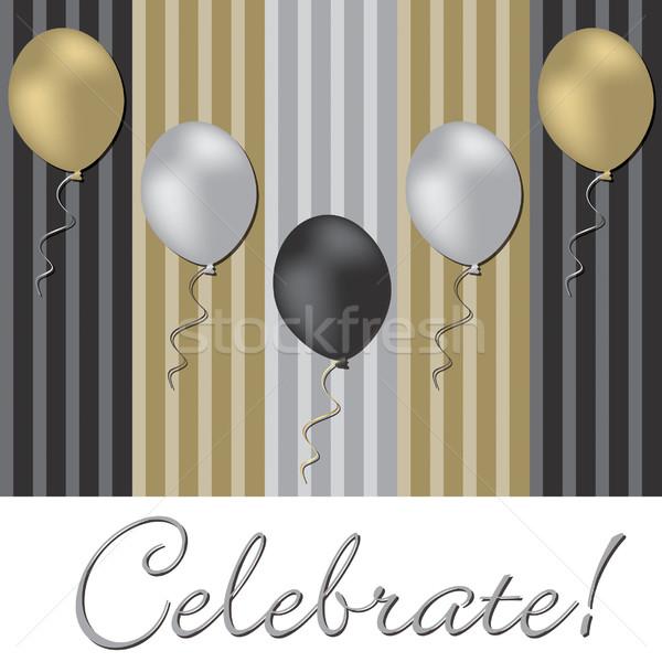 Elegáns léggömb ünneplés kártya vektor formátum Stock fotó © piccola