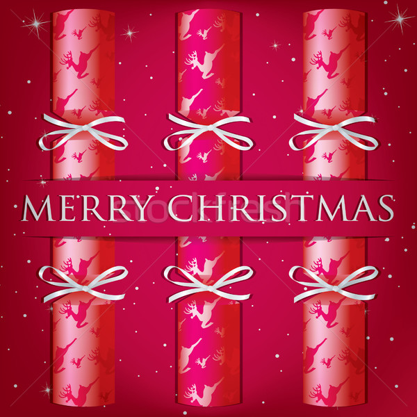 Merry Christmas reindeer cracker card in vector format. Stock photo © piccola