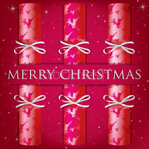 Neşeli Noel ren geyiği kart vektör format Stok fotoğraf © piccola