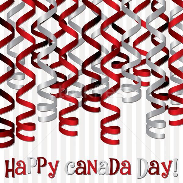 'Happy Canada Day' ribbon card in vector format. Stock photo © piccola