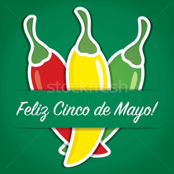 'Feliz Cinco de Mayo' (Happy 5th of May) paper cut out card in v Stock photo © piccola
