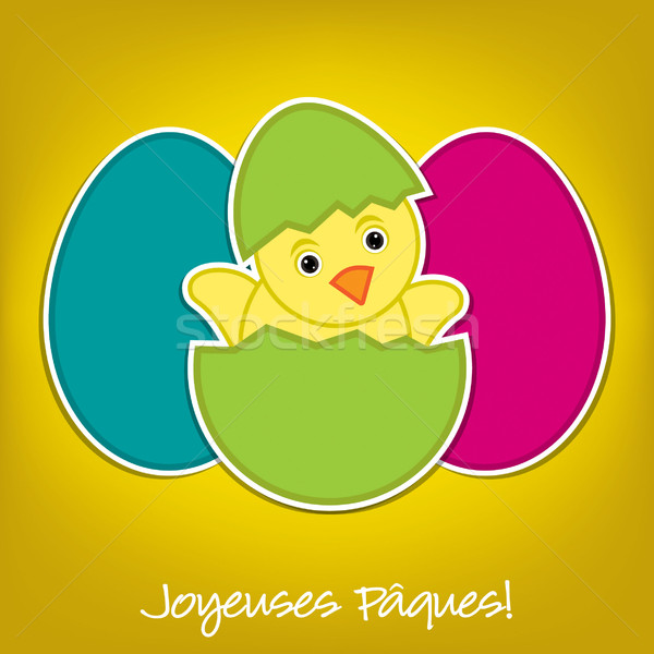 French Baby Chick and eggs Easter card in vector format Stock photo © piccola