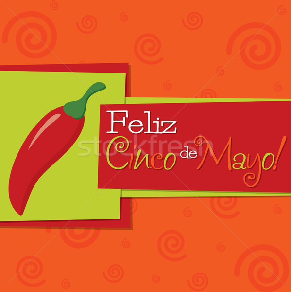 Stock photo: Funky chilli 'Feliz Cinco de Mayo' (Happy 5th of May) card in ve