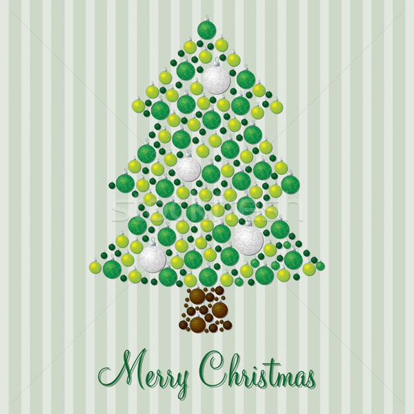 Random bauble green and silver Christmas tree bauble card in vec Stock photo © piccola