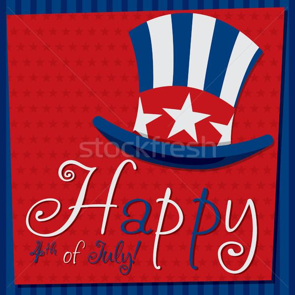 Hazafias nagybácsi kalap negyedike kártya vektor Stock fotó © piccola