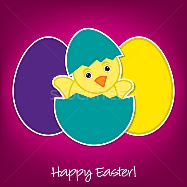Stock fotó: Baba · csirke · tojások · húsvét · kártya · vektor