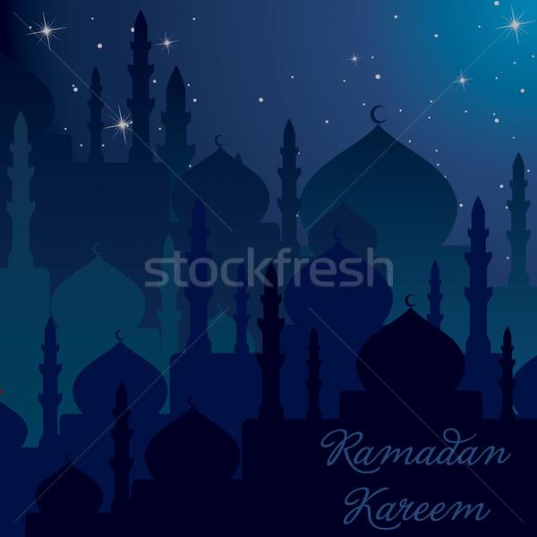 Foto stock: Noite · tempo · ramadan · generoso · cartão · vetor