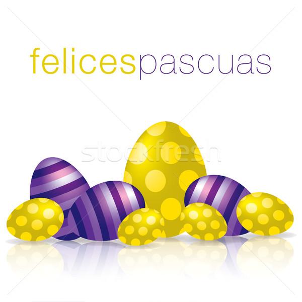 Kellemes húsvétot tojás tükröződés kártya vektor formátum Stock fotó © piccola